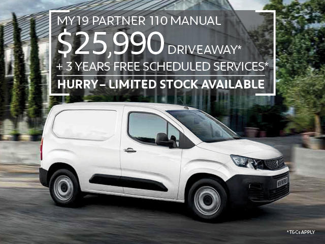 Incredible savings on the MY19 Partner Van